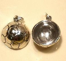925 Sterling Silver Soccer Ball Charm  2d  Stamped .925