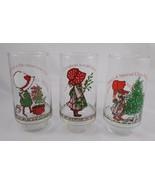 Hollie Hobby Glass Set of 3 Coca Cola Coke AGC Vintage Christmas #1 - $7.35
