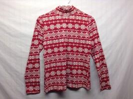 Croft & Barrow Ladies Crew Neck Red w White Snowflake Design Shirt Sz PS