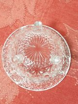 """Vintage Clear Pressed Glass Personal Ashtray Three Legs   3 1/4"""" image 5"""