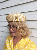 Vintage Jeweled Hat Neutral Ivory - $26.00