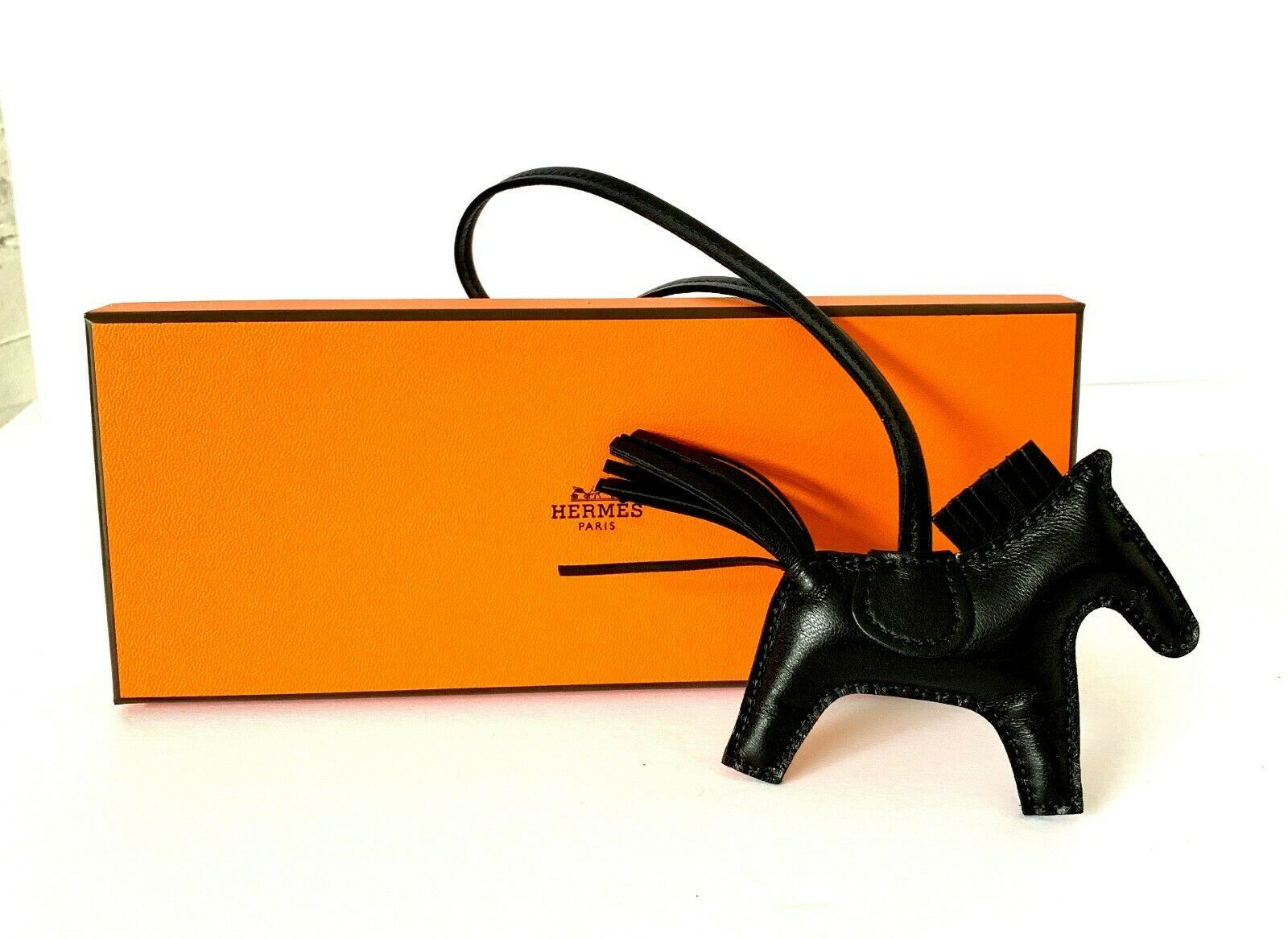 Hermes So Black Rodeo PM Bag Charm Horse New
