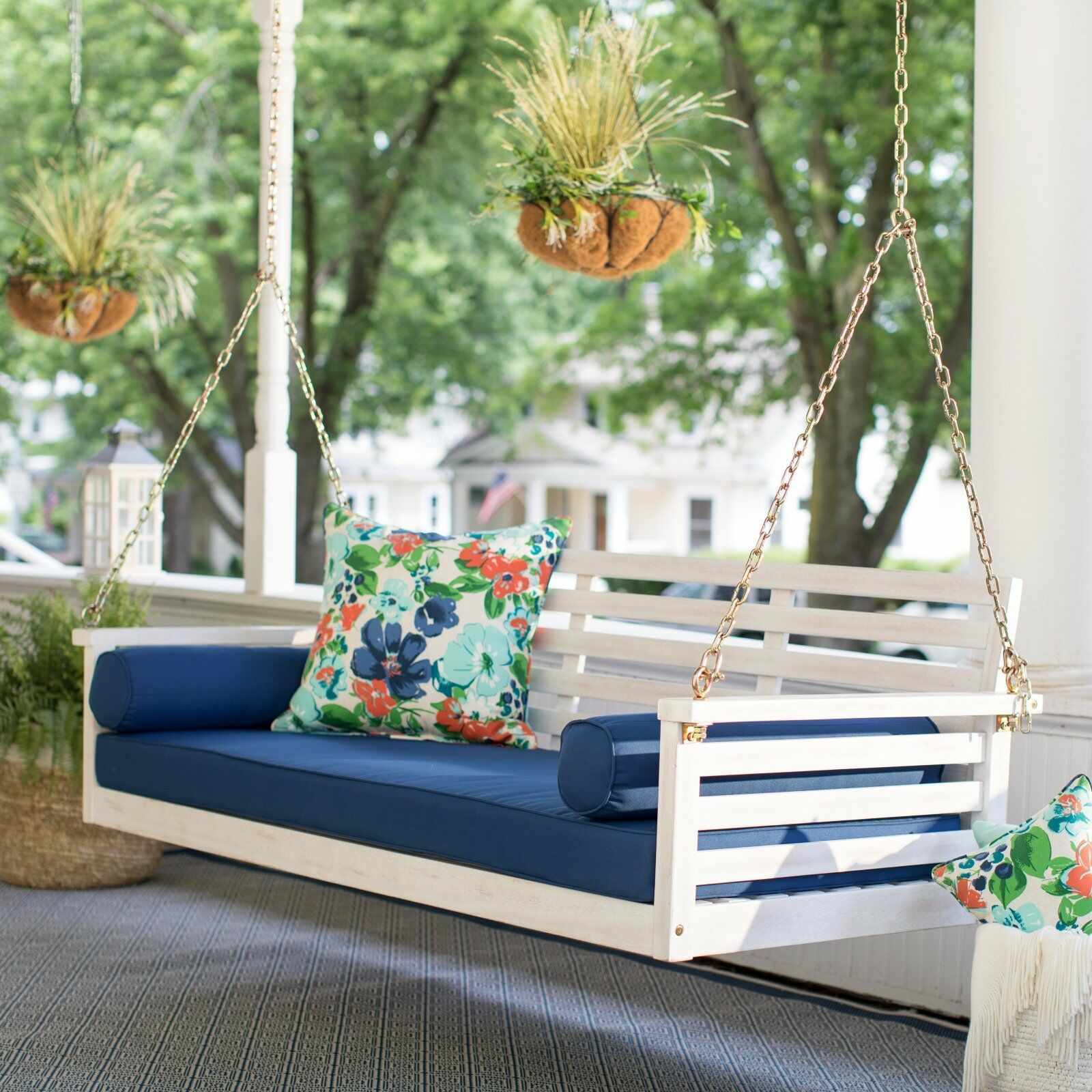 """White Coastal Cottage Wood 65"""" Porch Swing With Blue Cushions Outdoor Furniture image 7"""