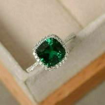 2 Ct Cushion Cut Green Emerald Halo Engagement Ring Solid 14K White Gold... - $76.36