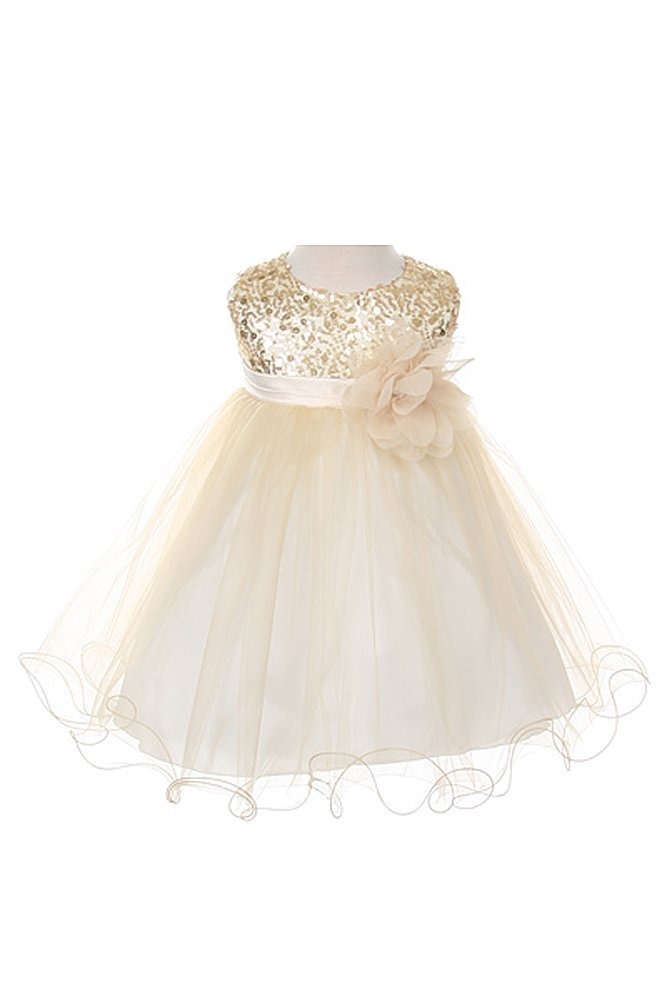 Sequin & Tulle Special Occasion Holiday Dress Gold Baby