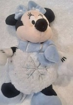 Disney Store Snowball Minnie Mouse Plush Stuffed Bow Scarf Snowflake Mic... - $14.84