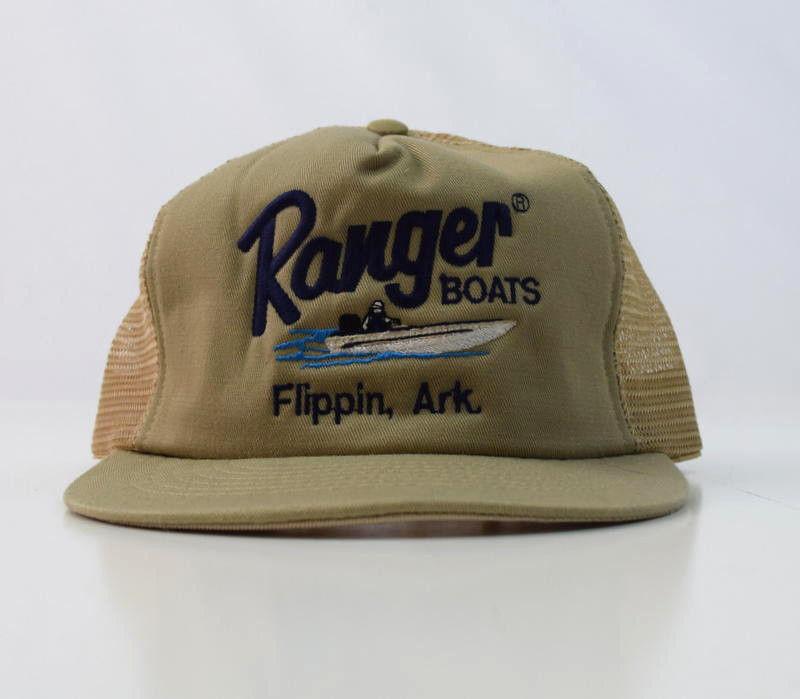 9cf7028bb56 57. 57. Previous. Vtg 80s RANGER BOATS Flippin Ark Taupe Beige Snap Back  Trucker Fishing Hat Cap. Vtg 80s RANGER ...