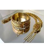Vintage Signed Continental Gilt Mesh Necklace Cuff Bracelet Art Deco 60's - $69.00