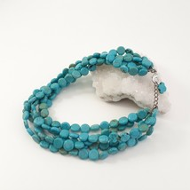 Multi Strand Turquoise Necklace 12mm Coin Beads image 1