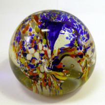 FLORAL ART GLASS PAPERWEIGHT - $9.49