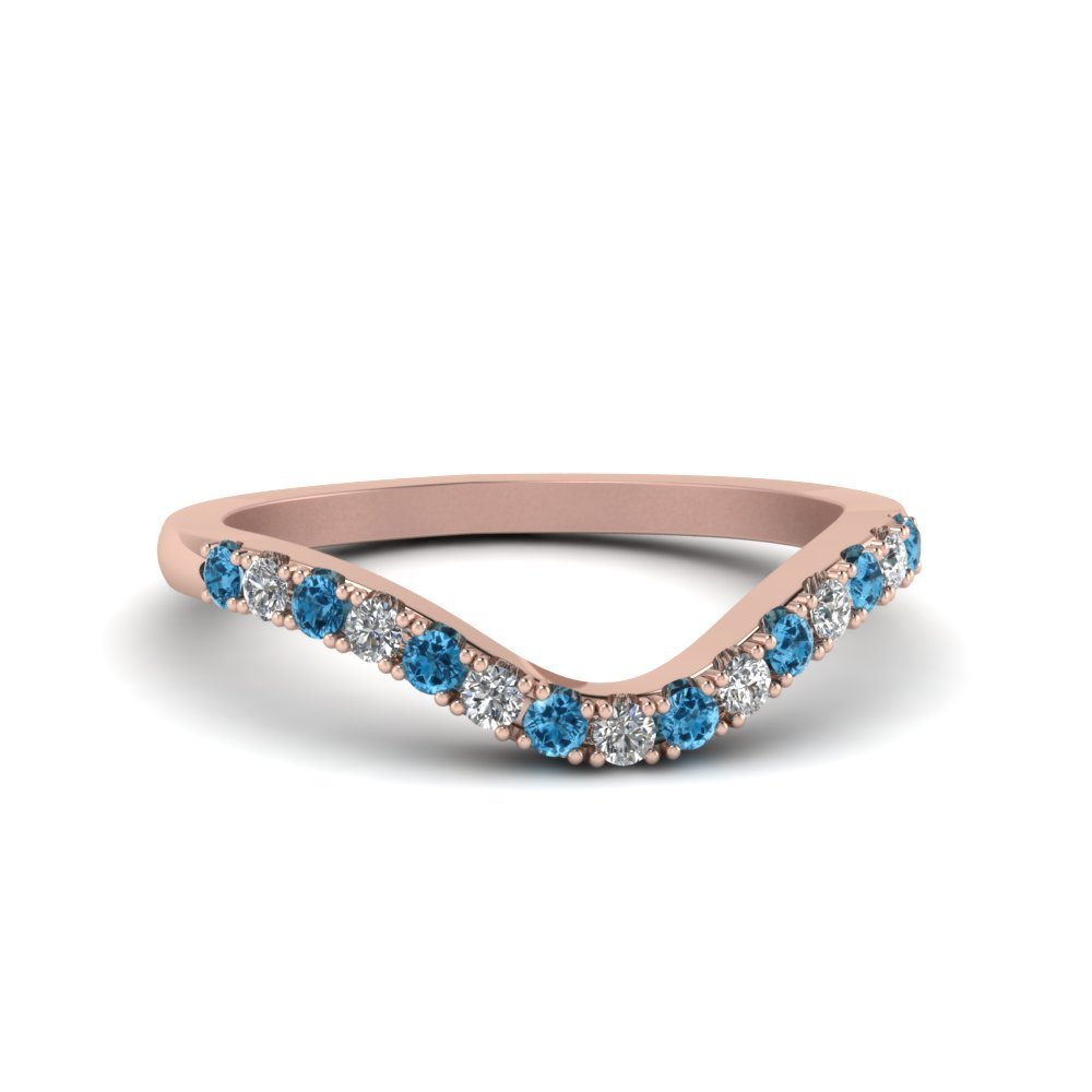 Primary image for Custom Blue Topaz & CZ Diamond 14K Rose Gold FN Curved Wedding Band Ring