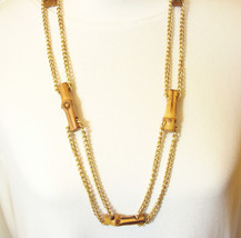 Bamboo Joint Double Chain Necklace Gold Plated Curb Lucky Vintage Estate - $16.82