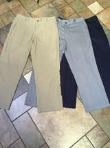 3 Pair Mens Adidas Climalite Tan/Blue/Gray Pants Sz 36 Inseam 30 Euc - $59.39