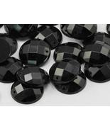 18mm Jet Black CH37 Round Flat Back Sew On Gems For Craft 30 PCS - $4.79