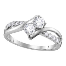 10kt White Gold Round Diamond 2-stone Bridal Wedding Engagement Ring 1/2... - £749.94 GBP