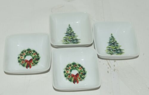 PPD Christmas Condiment Bowls Decorated Tree  Wreath Set of 4 New Bone China