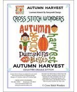Autumn Harvest fall cross stitch chart Cross Stitch Wonders - $5.00