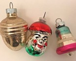 Vintage Shiny Brite Ornaments Glass Bell Grapes Acorn Lot 3 Striped