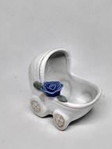 VINTAGE SHIAH YIH CERAMIC/PORCELAIN WHITE BABY BUGGY WITH BLUE FLOWER CHINA - $12.82