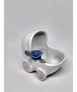 VINTAGE SHIAH YIH CERAMIC/PORCELAIN WHITE BABY BUGGY WITH BLUE FLOWER CHINA - $12.82