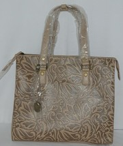 Simply Noelle HB1126A Birch Style Tan Taupe Floral Embossed Womens Purse image 2