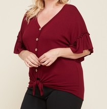 Ruffle Sleeve Tie Front Top, Plus Size Tie Front Top, Burgundy Button Top
