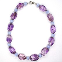 SILVER 925 NECKLACE, FLUORITE OVAL FACETED PURPLE, SPHERES CHALCEDONY image 2