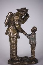 8.5 Inch Child Thanking a Fireman For Help Resin Statue Figurine - $35.99