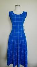 NWT Lularoe XL Swing Sleeveless Dress POCKETS Blue White Plaid  - $35.99