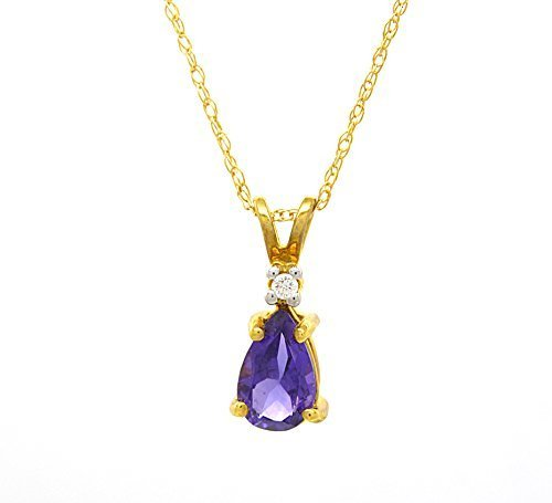 14 k Yellow Gold Genuine Amethyst Diamond Accent Pendant