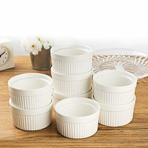 Set of 8 PCS 6 oz Round Porcelain Oven Safe Ramekin Dessert Souffle Baking - $15.40