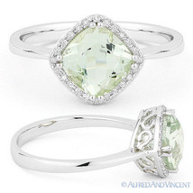 1.45ct Cushion Cut Green Amethyst Diamond Halo Engagement Ring in 14k Wh... - €369,74 EUR