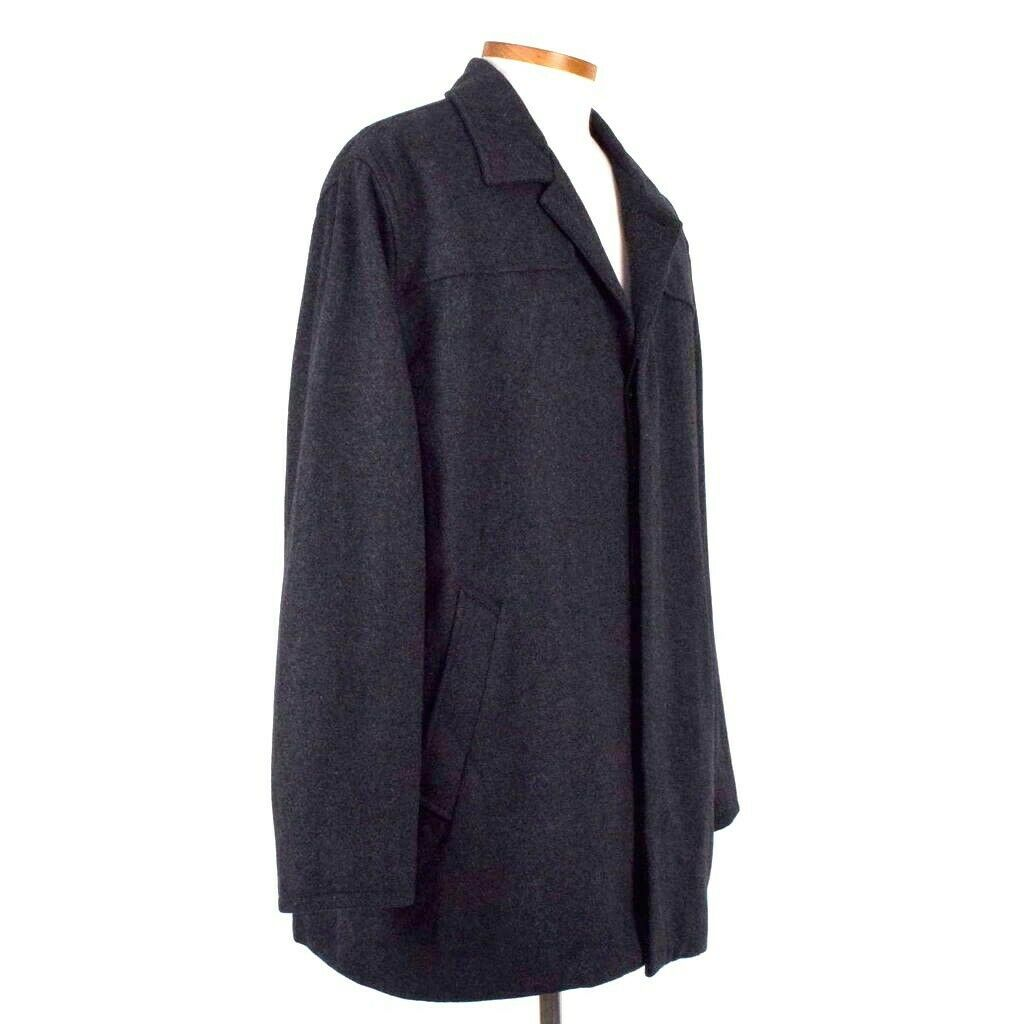 Primary image for Structure Charcoal Gray Wool Field Coat Quilt Lined Jacket Button Mens Size XL