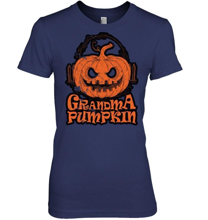 Funny Halloween Tshirt Grandma Pumpkin Nana Distressed