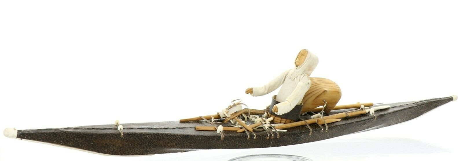 Greenlandic Inuit Miniature Skin on Frame Kayak Model in Exceptional Condition