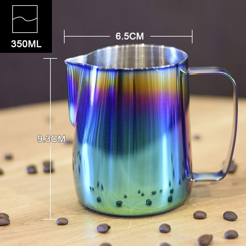 Milk Pitcher Frothing Cup Stainless Steel Coffee Jug Rainbow Espresso Latte Tea image 2