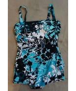 Swim Solutions Intero Misura 10 Blu Barcelona Fascia Sarong Costume - $49.44