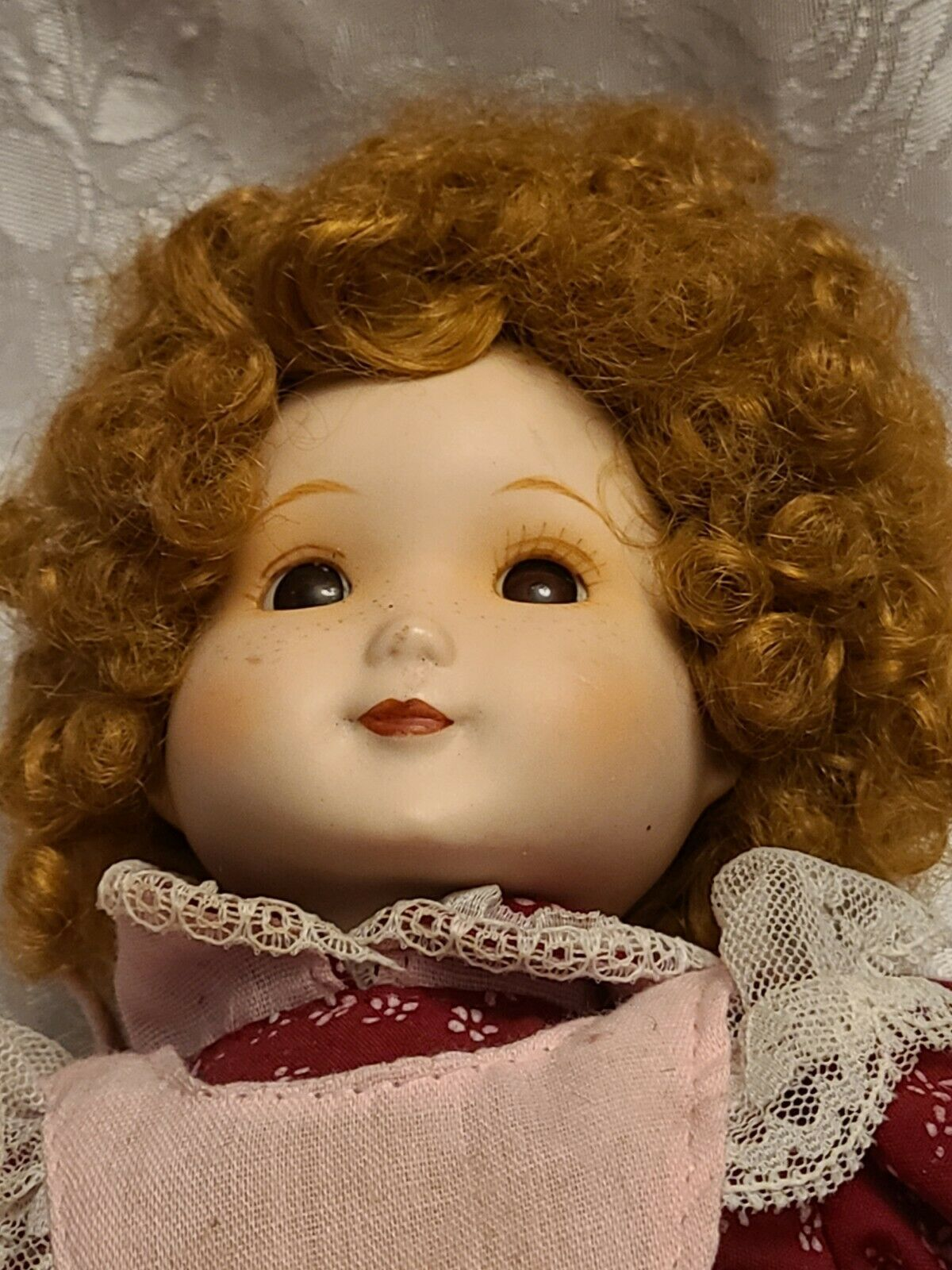 """1983 DYNASTY DOLL COLLECTION 10""""  PORCELAIN Girl In Burgundy & Pink Dress Vicky"""