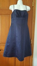 NWT WOMAN DAVID'S BRIDAL NAVY BLUE SOLID SATIN FORMAL DRESS SZ 6, BELOW ... - $12.78
