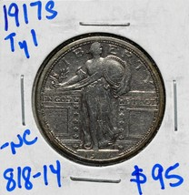 1917S Type I Standing Liberty Silver Quarter Coin Lot# 818-14