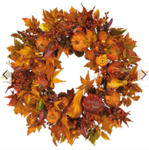 Halloween Pumpkin Wreath Harvest Door Decoration Autumn Garland Decor Ar... - $114.22
