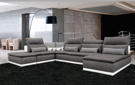 VIG David Ferarri Panorama Italian White Leather Grey Fabric Sectional Sofa Left