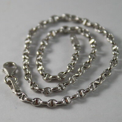 18K WHITE GOLD, OVAL NAVY MARINER BRACELET, 7.50 INCHES, 19 CM, MADE IN ITALY