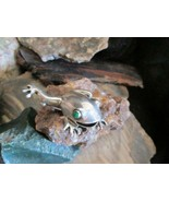 Vintage Old Sterling Silver Leaping Tree Frog Brooch Pin Green Onyx Ston... - $30.00