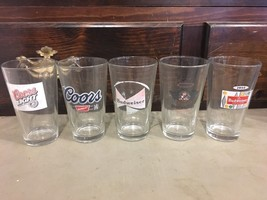 Budweiser Coors Pint Glass Lot Of 5 Glasses - $9.90