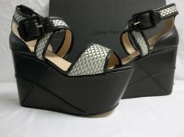 Calvin Klein Collection Size 9 M Pauline Black Metallic Wedges New Women... - $494.01