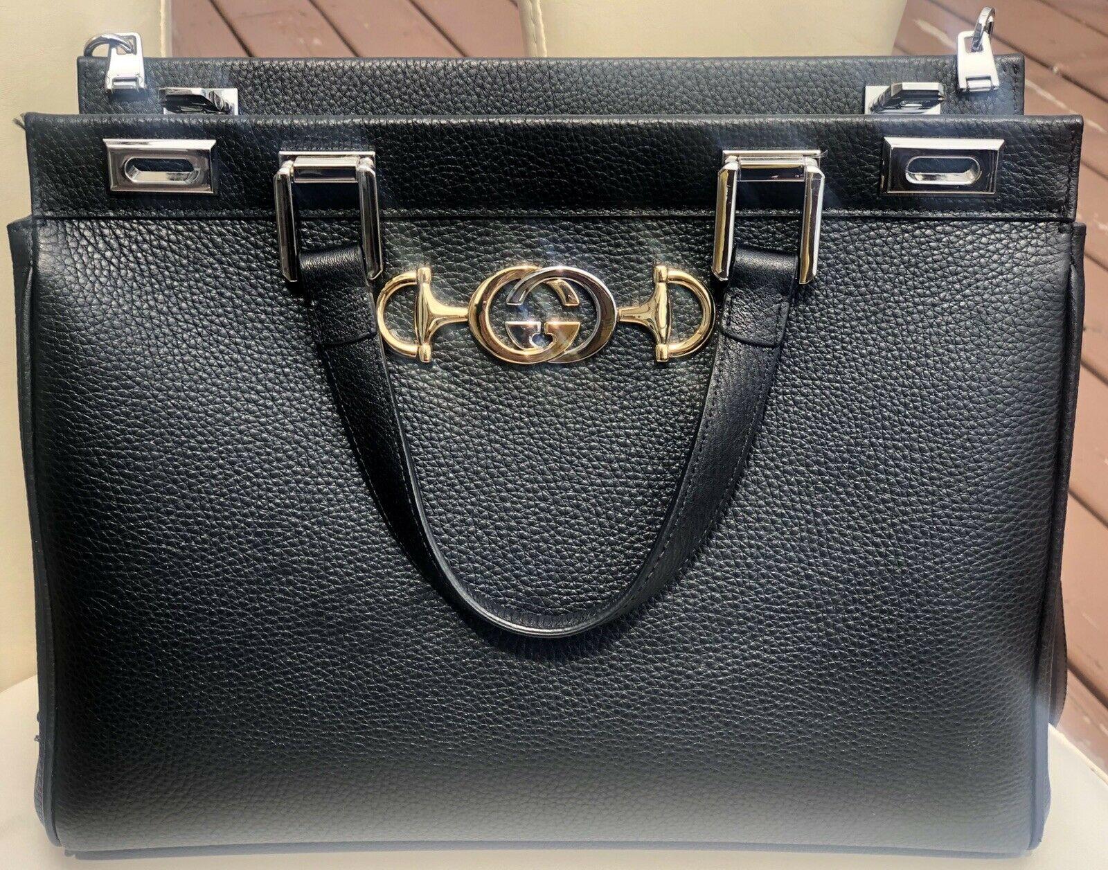 NWT GUCCI Black Zumi Grainy Leather Medium Top Handle Handbag Bag- Preloved