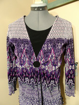 NOTATIONS Ring front Layered look Blouse S Purple Pink Scarf print ScoopNeck top - $16.82