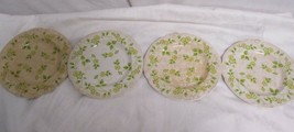 Nikko Ironstone Lot of 4 Plates Yellow Flowers Green Leaves - $16.20