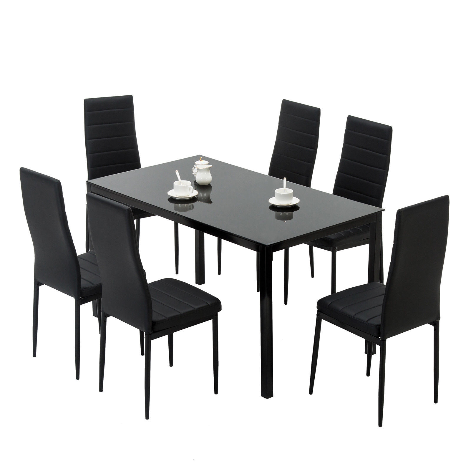 7 piece dining table set 6 chairs black glass metal kitchen room furniture5 dining sets. Black Bedroom Furniture Sets. Home Design Ideas